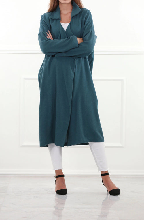 Oversized Teal Woolen Coat