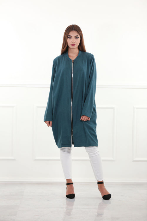 Relaxed Teal Woolen Jacket