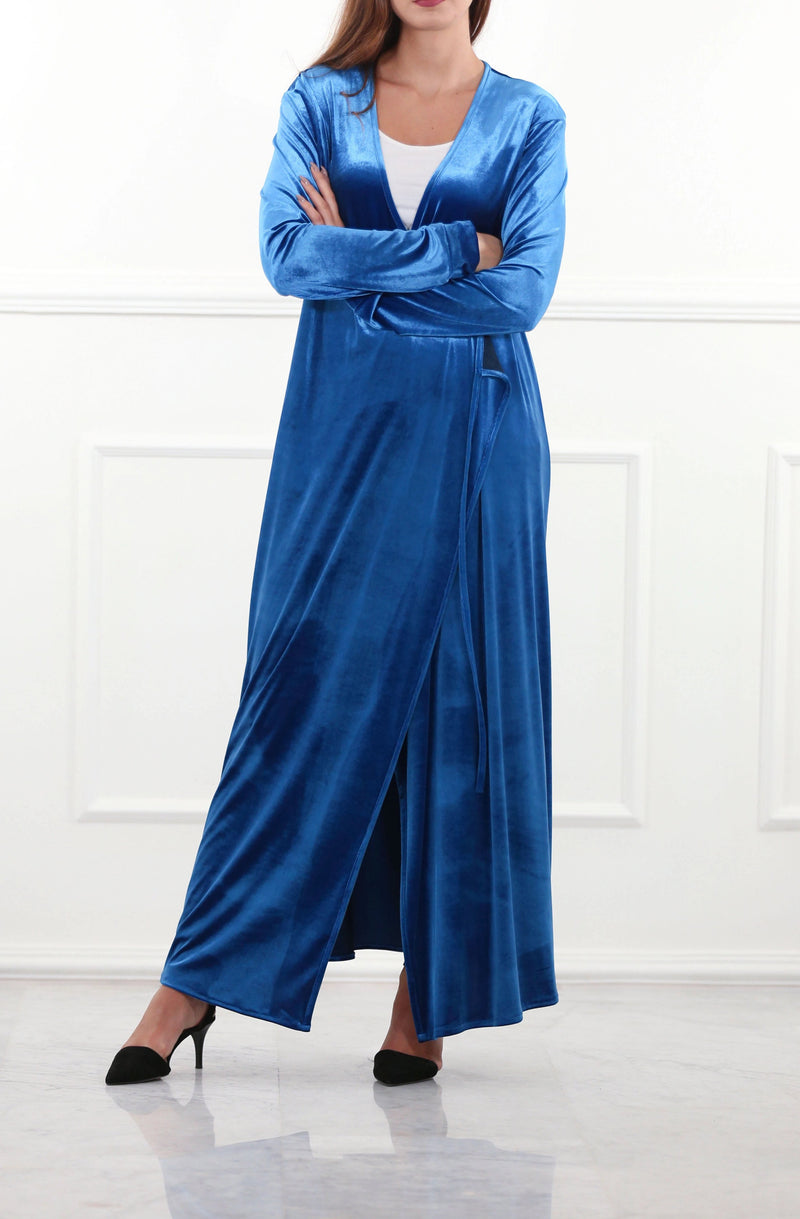 Regal Blue Velour Wrap Cardigan