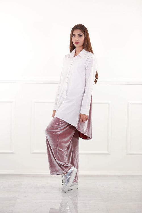 White Shirtdress with Pink Velour