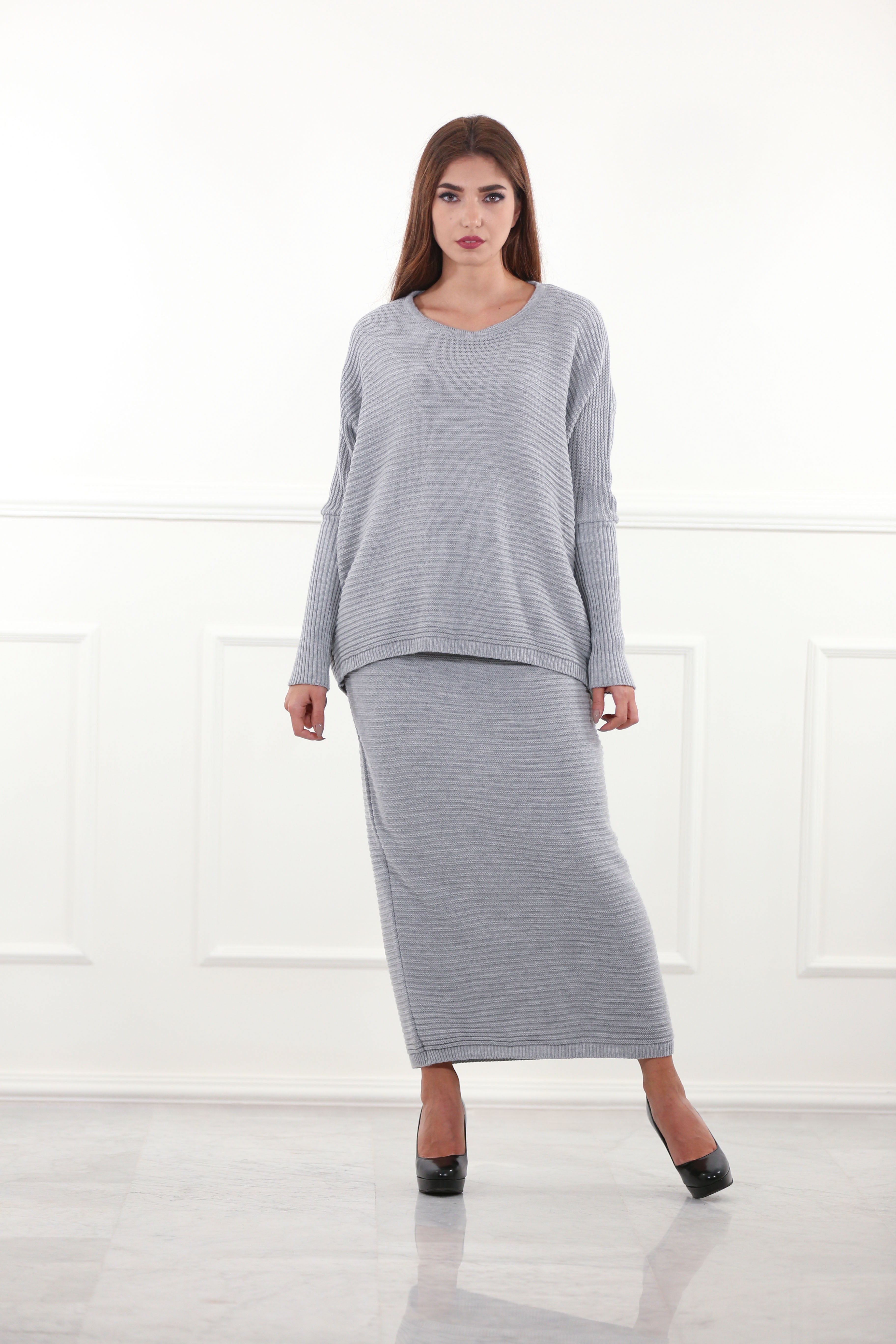 Grey Knitted Co-ord Set