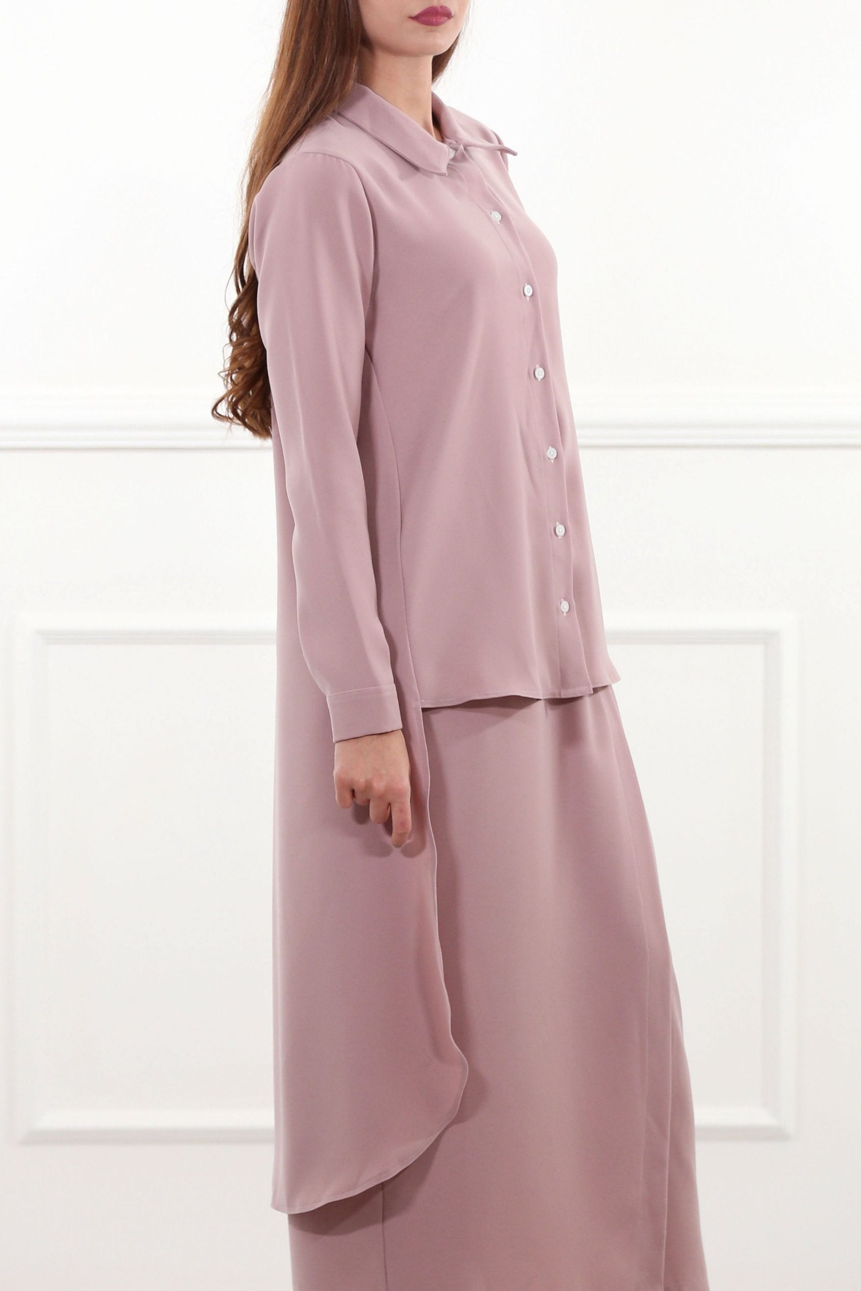 Dust Pink Hi-Lo Shirtdress
