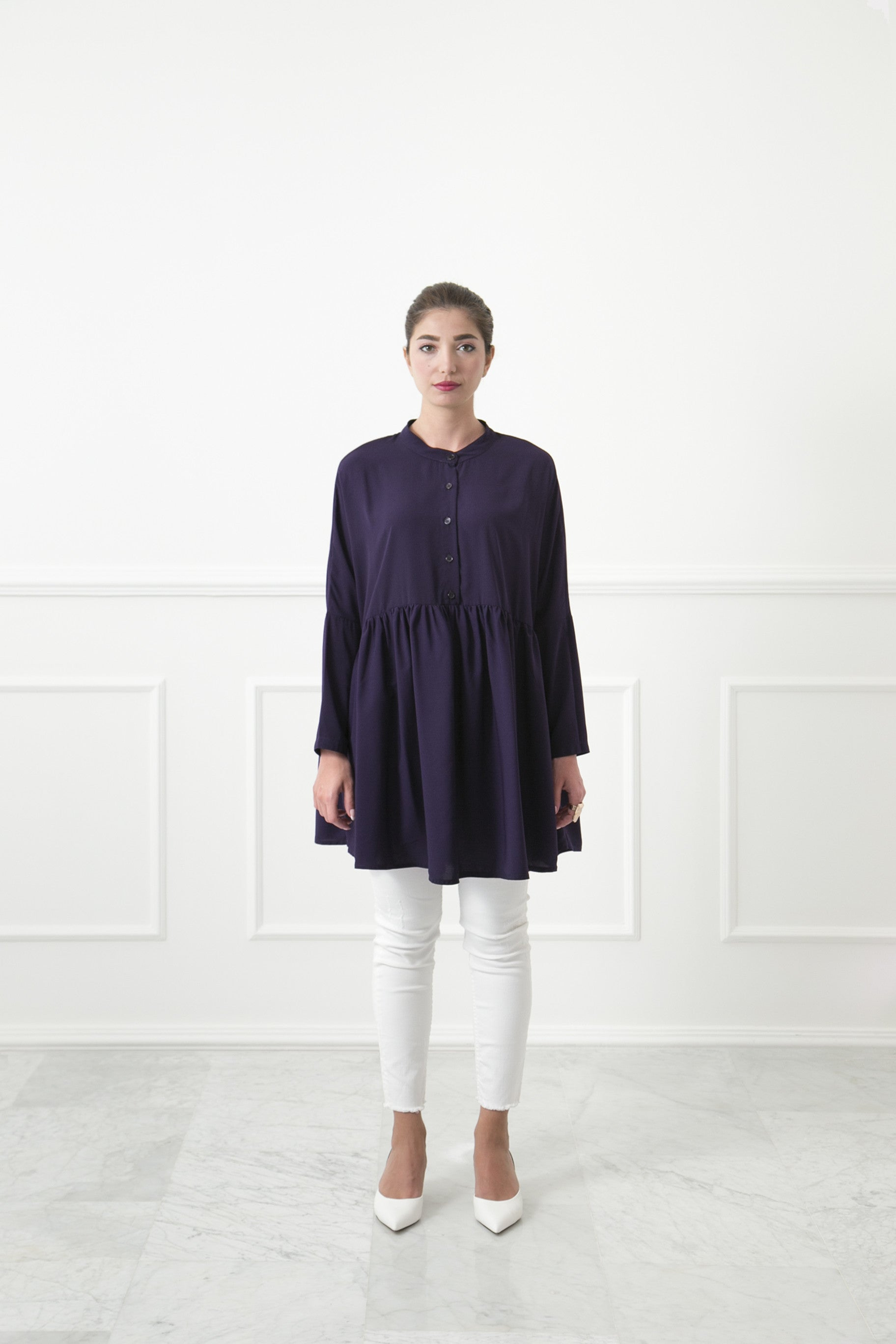 Oversized Blackberry Shirtdress