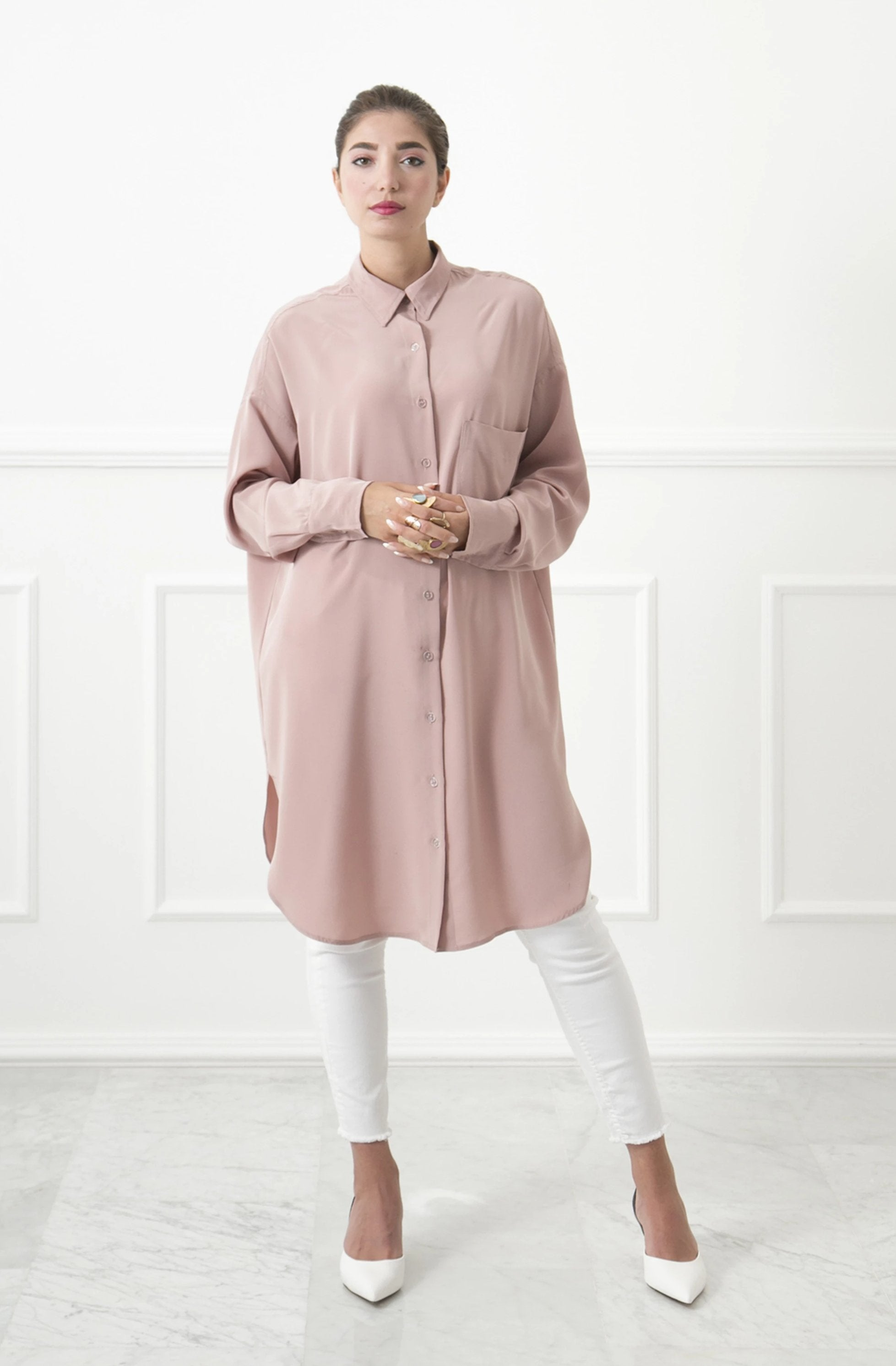Overized Nude Shirtdress