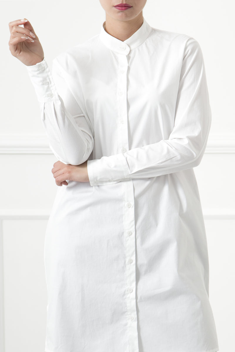 White Mandarin Shirtdress