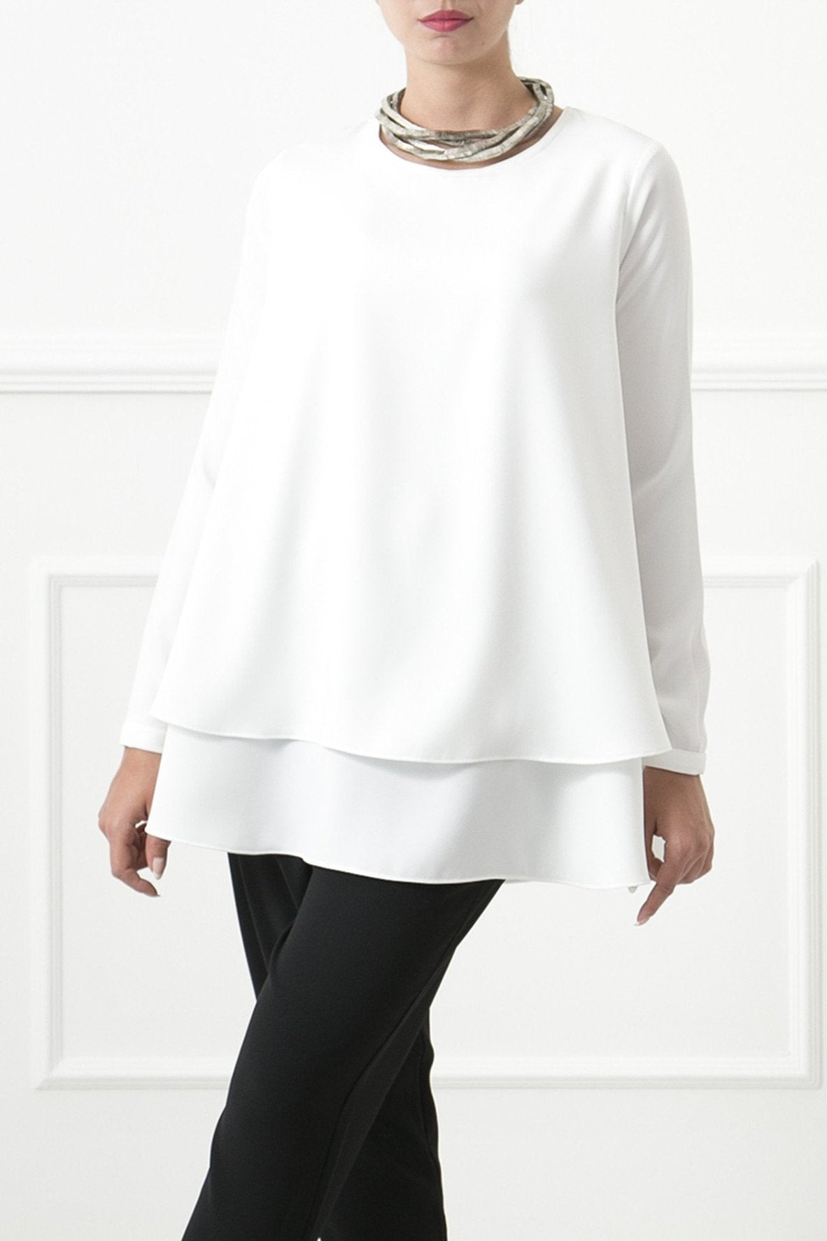 White Faia Crepe Top
