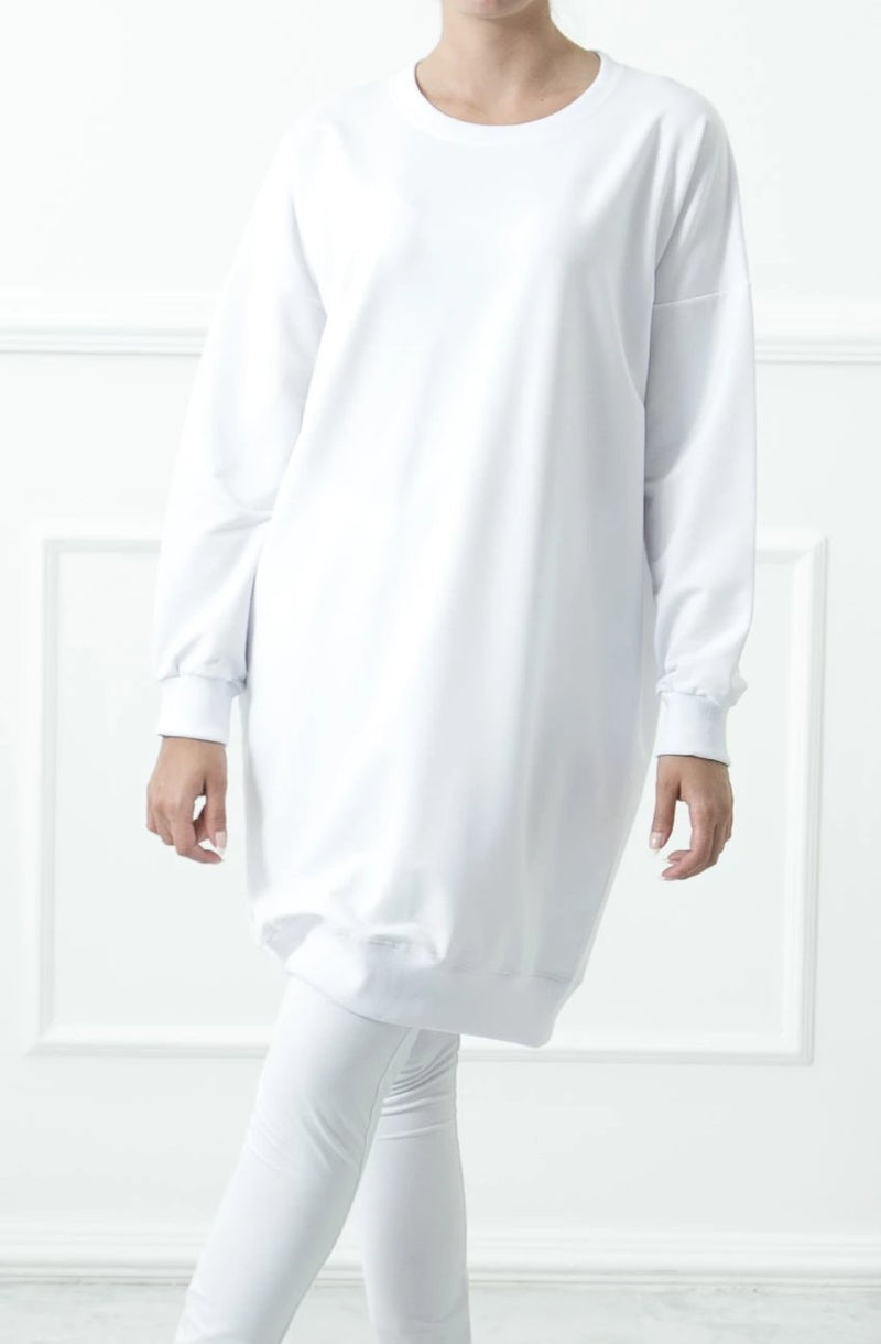 White Basic Sweatshirt Dress