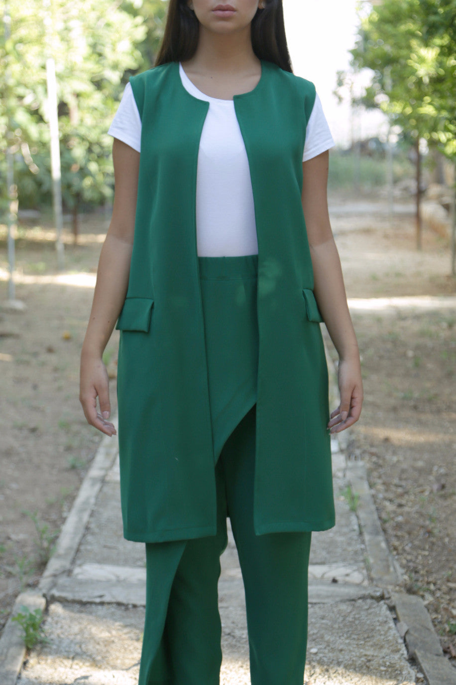 Green Pleated Vest