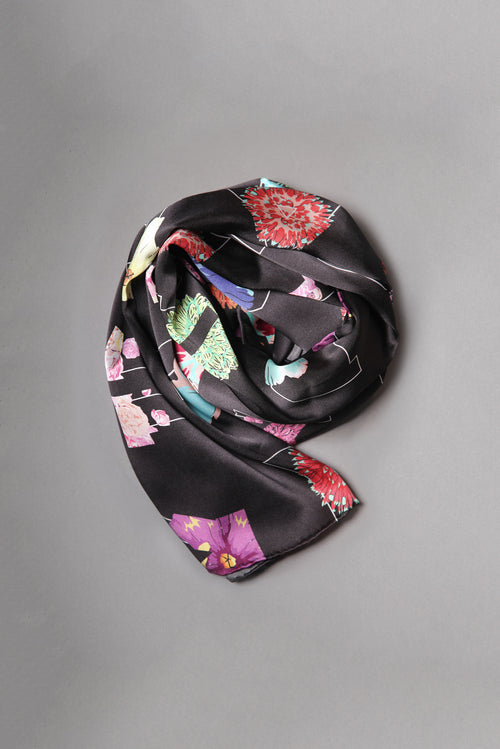 Alpha Black Silk Scarf