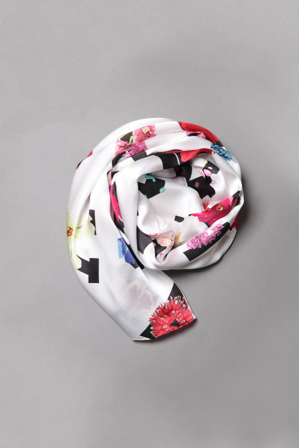 Alpha White Silk Scarf