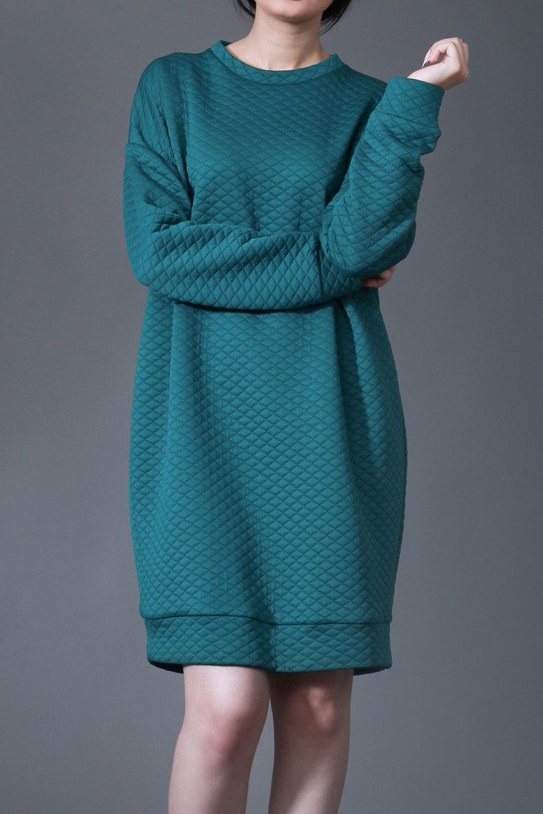 Oversized Quilted Sweater Dress-Emerald