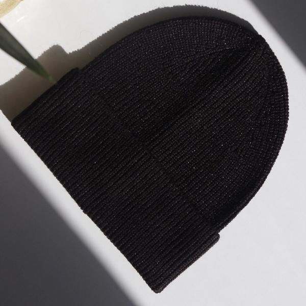 Wool Blend Metallic Beanie - Black