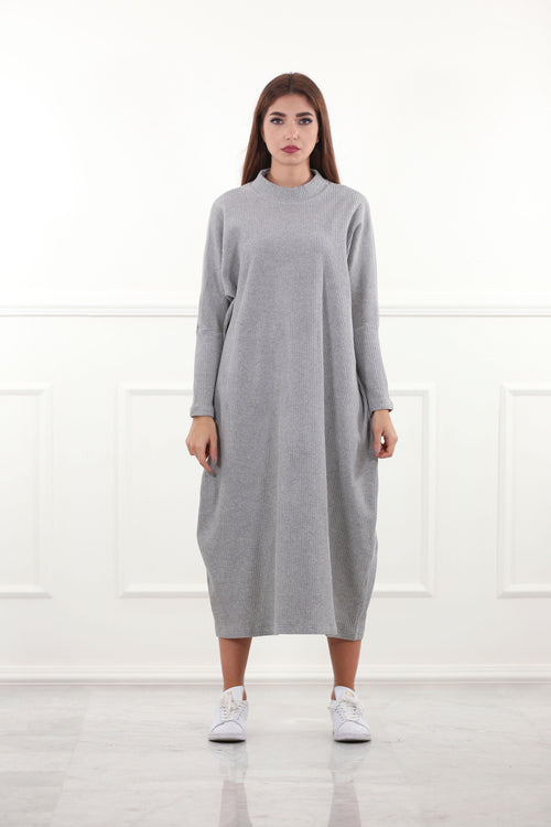 Grey Maxi Knitted Dress