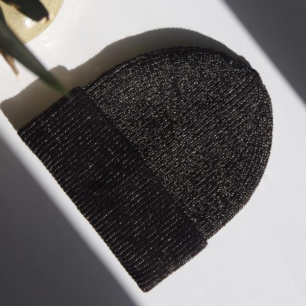 Wool Blend Metallic Beanie - Black & Gold