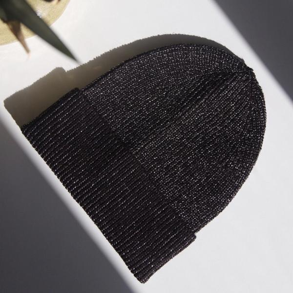Wool Blend Metallic Beanie - Black & Silver