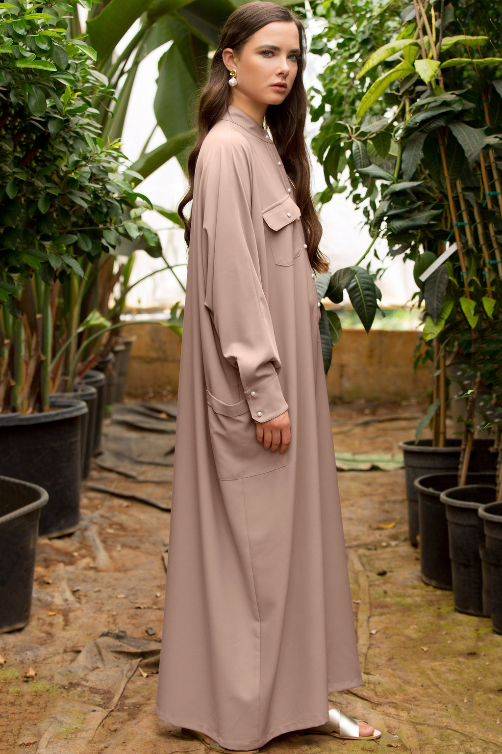 Jenna Oversized Maxi Shirtdress - Nude