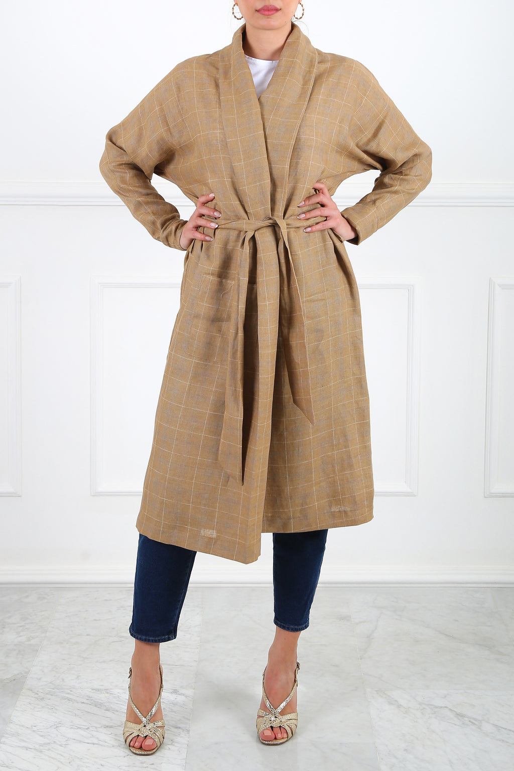 Tan Ray Linen Wrap Cardigan