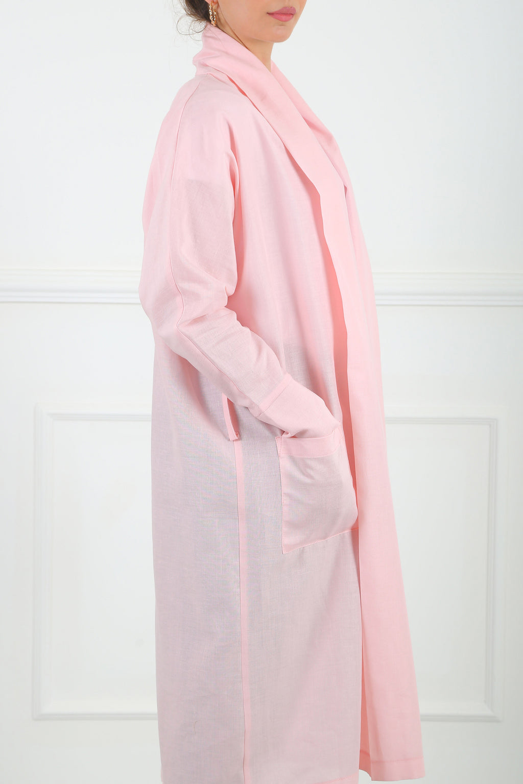 Pink Ray Linen Wrap Cardigan