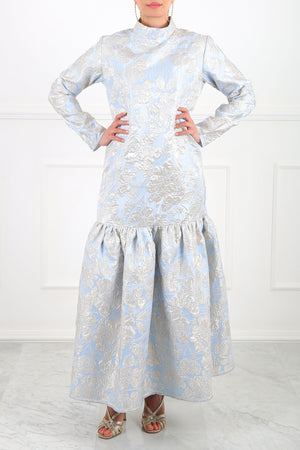 Blue Alya Jacquard Maxi Dress
