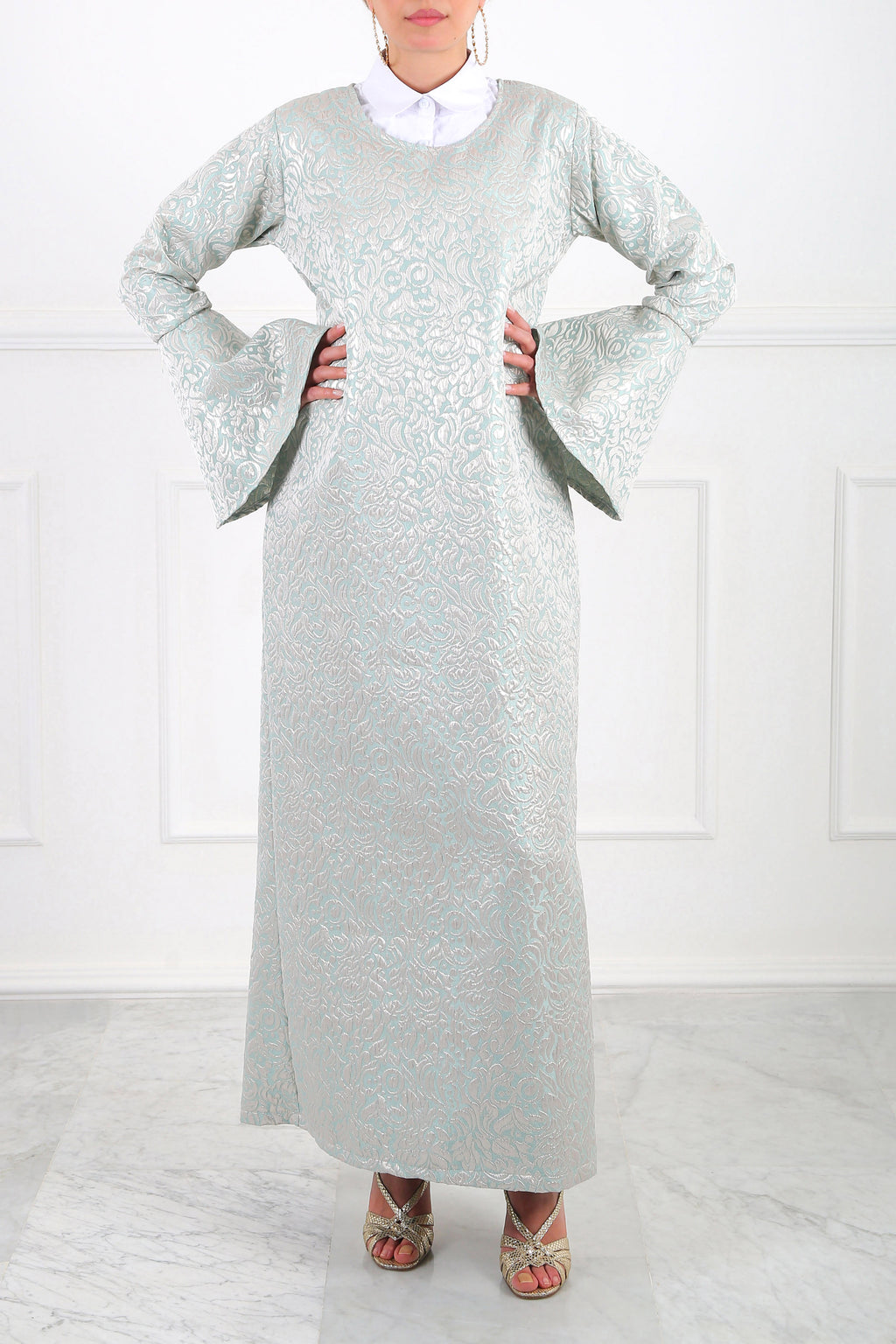 Bell-Sleeve Jacquard Maxi Dress