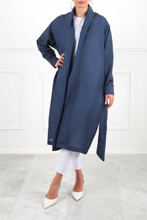 Navy Ray Linen Wrap Cardigan
