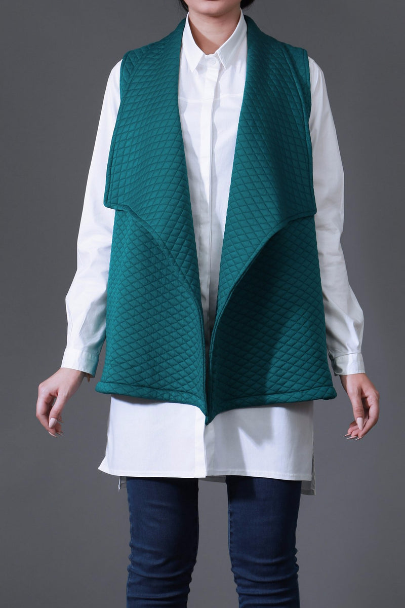 Emerald Quilted Draped Vest