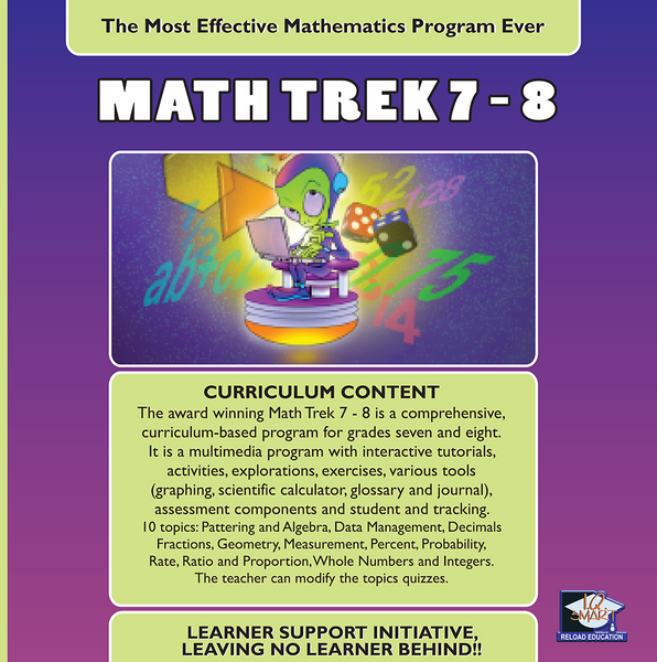 7 DAY FREE TRIAL -  MATHEMATICS GRADE 7, 8 - IQ SMART LEARNING SOFTWARE  - 10