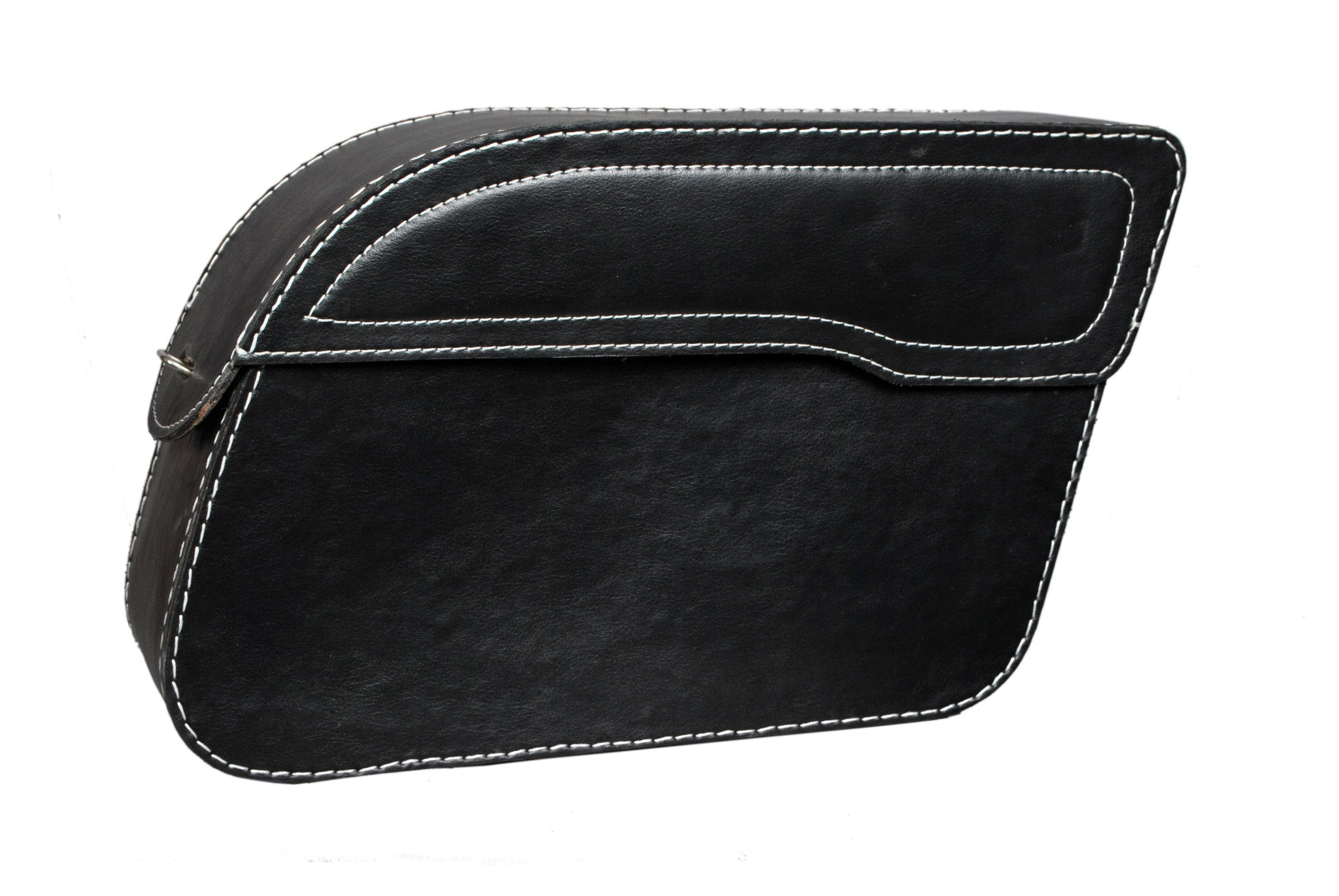 Black Plain Flap Saddlebag 1 Buckle Leather AFREZ-5003