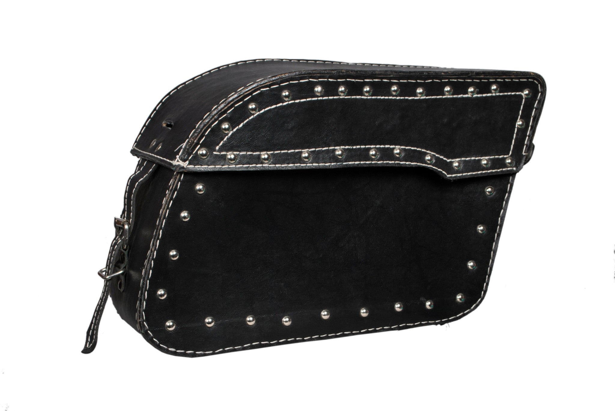 Black Studded Flap Saddlebag 1 Buckle Leather AFREZ-5004