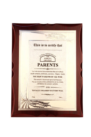 World's Best Parents Premium Certificate / Award