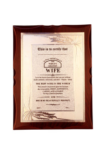 World's Best Wife Premium Certificate / Award