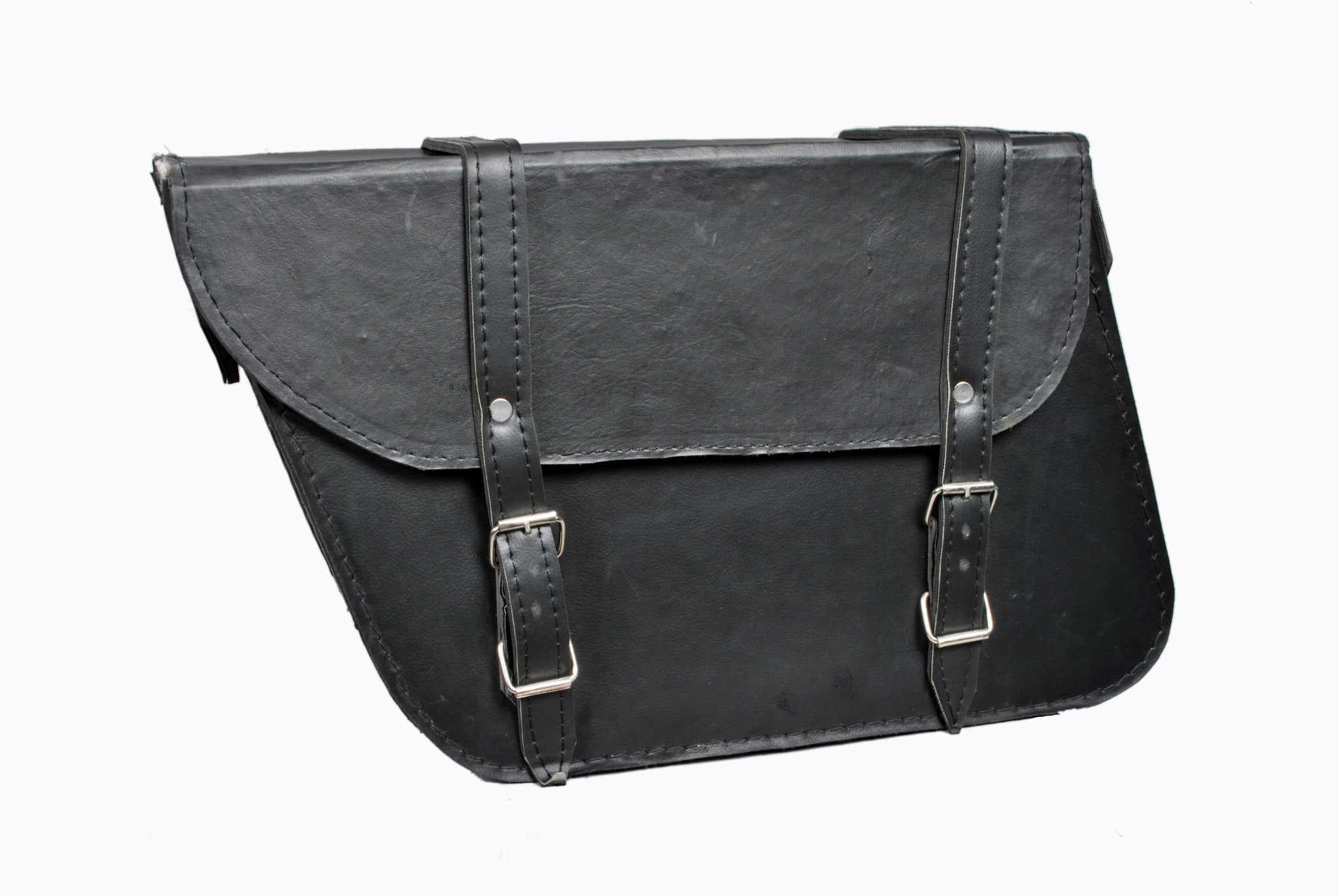 Black Plain Saddlebag Trapezium Leather AFREZ-5001