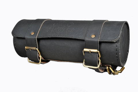 Black Plain Saddlebag Round Leather AFREZ-2427