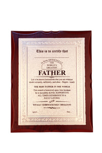 World's Best Father Premium Certificate / Award