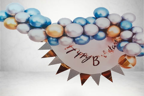 45 Balloon Arch Dome Kit with Chrome Balloons and Happy Birthday Banner