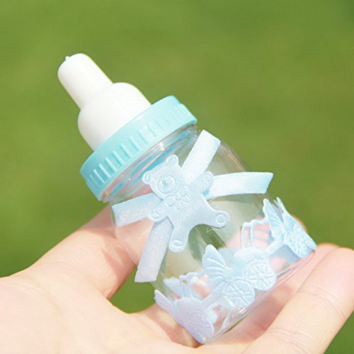 Milk Bottle Shape Mini Bottles 12pcs Set - Blue for Baby Shower