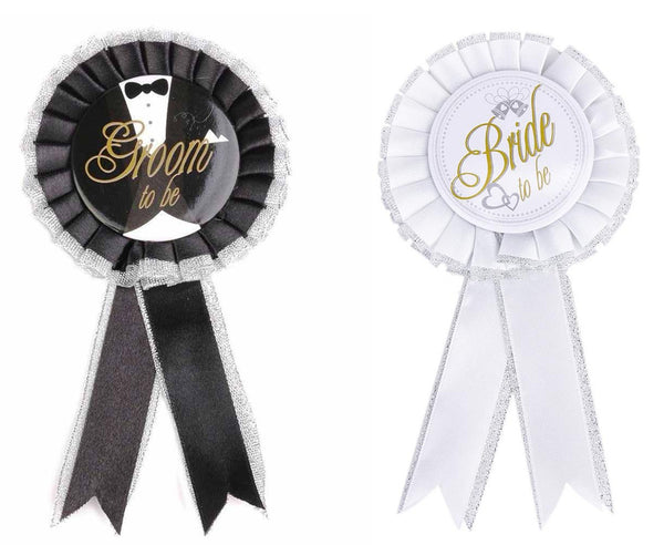 Groom And Bride Badge / Brooch Combo