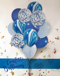 12pcs. Marble and Confetti Balloons Bouquet (10-12inch When inflated) Blue & White