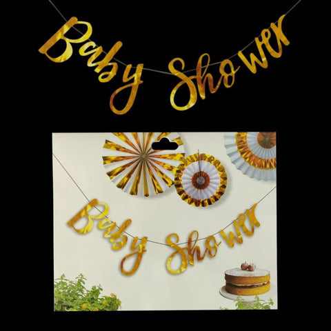 Baby Shower Banner Gold 3feet