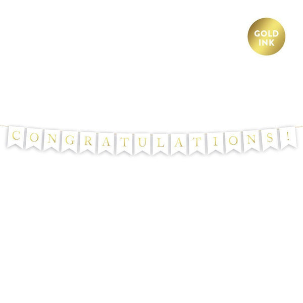 Congratulations Letter Banners Swallowtail On Card Stock (Golden Alphabets)