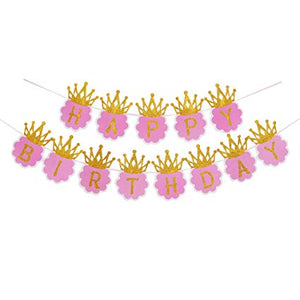 300cms Glitter Crown Happy Birthday Party Banner Pink