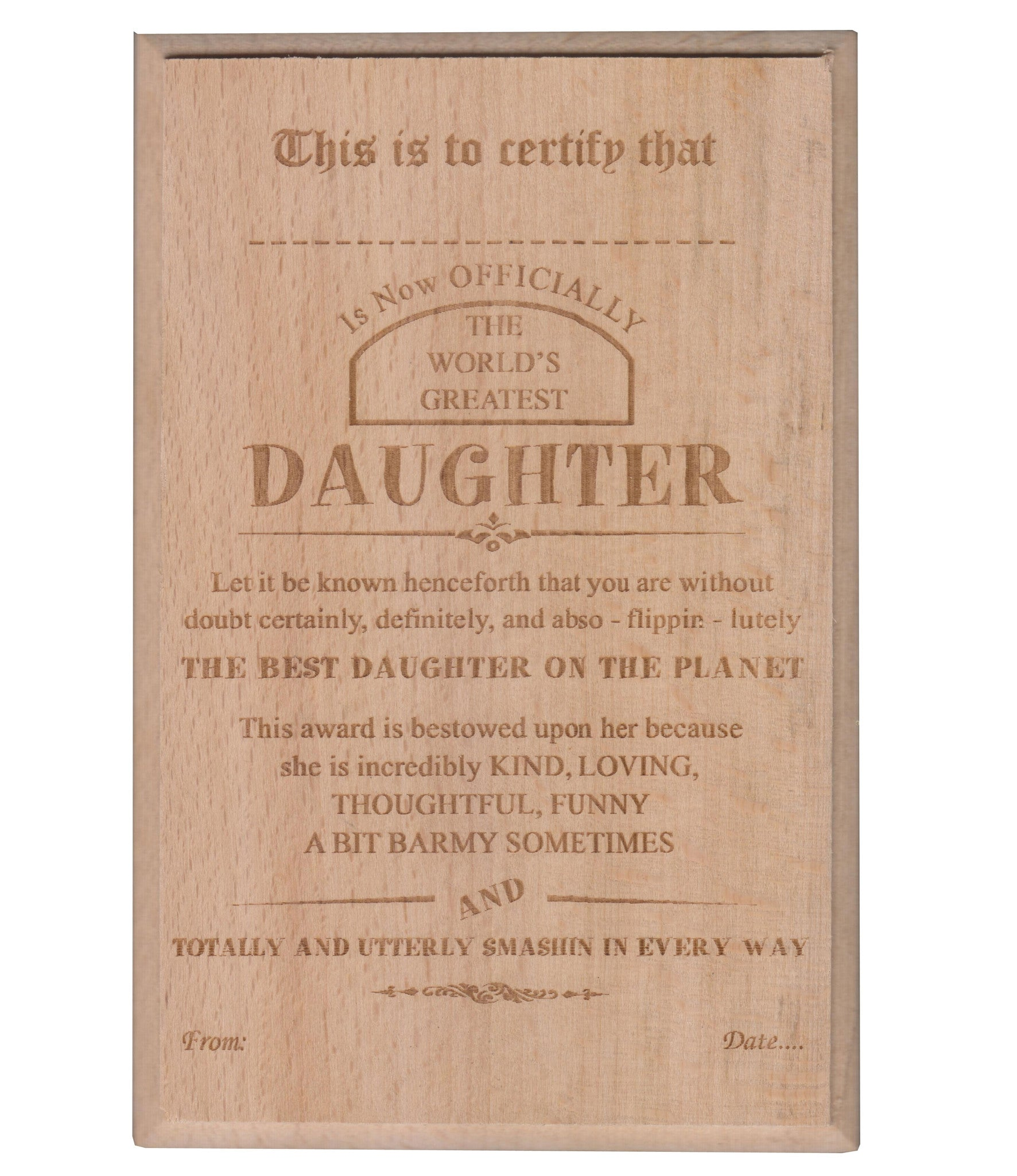 World's Best Daughter Certificate / Award