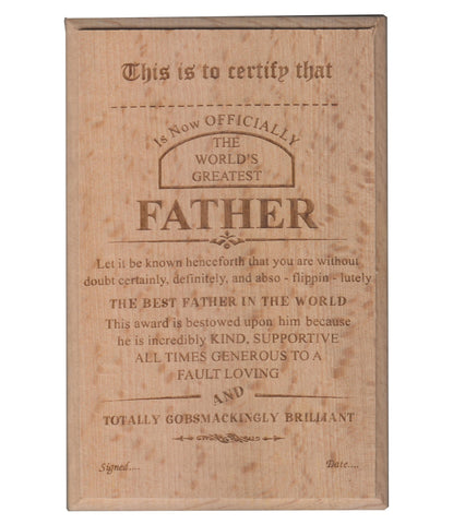 World's Best Father Certificate / Award