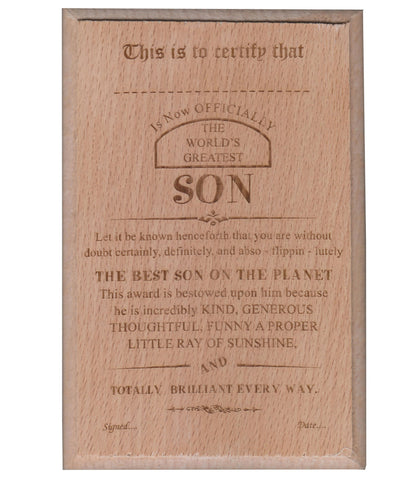 World's Best SON Certificate / Award
