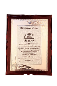 World's Best Sister Premium Certificate / Award
