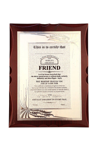 World's Best Friend Premium Certificate / Award
