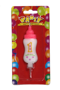 1st Birthday Baby Bottle Pink Wax Party Candle