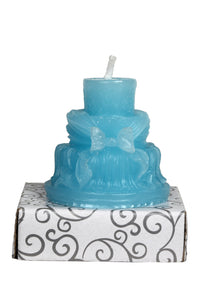 Anniversary Cake 3 Tier Blue Wax Party Candle / Bride Groom Cake Candle