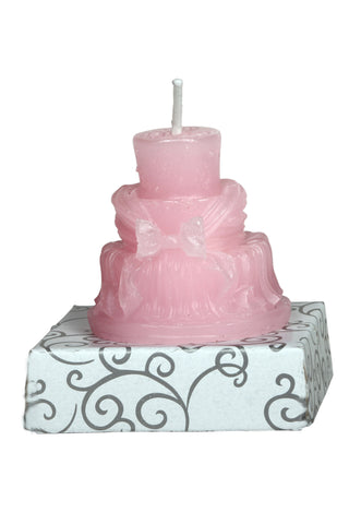 Anniversary Cake 3 Tier Pink Wax Party Candle / Bride Groom Cake Candle