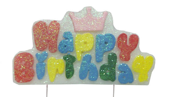 Happy Birthday Crowned Wax Party Candle